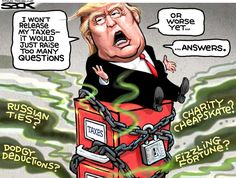 I understand Trump promises to release his tax returns if he wins re-election in 4 years. Trump Cartoons, Political Cartoons, Political Memes, Political Satire, Political Figures, Caricatures, Trump Taxes, Trump Jr, Princesas Disney