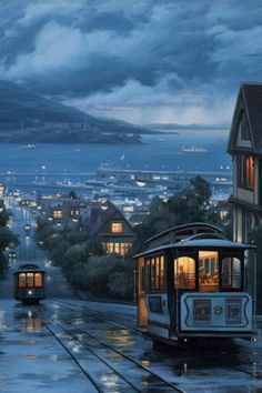 Cable Cars of San Francisco Beautiful World, Beautiful Places, Beautiful Pictures, City Aesthetic, Travel Aesthetic, Night Train, Scenery Wallpaper, Iphone Wallpaper Rain, Boat Wallpaper