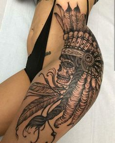 Super tattoo feather indian thighs 44 ideas The post Super tattoo feather indian thighs 44 ideas appeared first on Best Tattoos. Side Thigh Tattoos, Leg Tattoos Women, Foot Tattoos, Body Art Tattoos, Skull Thigh Tattoos, Thigh Tattoo Designs, Female Thigh Tattoos, Leg Sleeve Tattoos, Side Body Tattoos