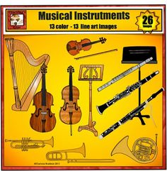 New Musical Instrument clip art set from Charlotte's Clips.  Includes harp, violin, bow, cello, upright bass, flute, clarinet, bassoon, saxophone, tuba, trumpet, trombone, french horn, and music stands.  High Quality - Low price.