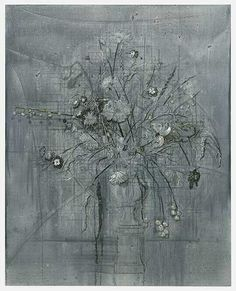 Michael Raedecker, acrylic and thread on canvas