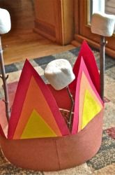 Activities: Camping Craft: Campfire Hat I would just leave it on the floor and maybe my son would stop using the app that shows different fireplaces all day