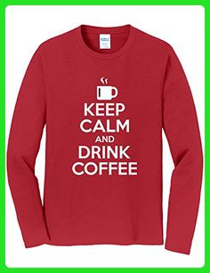 Tenacitee Men's Keep Calm and Drink Coffee Long Sleeve T-Shirt, Medium, Cardinal Red - Food and drink shirts (*Amazon Partner-Link)