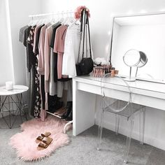 My dressing room / makeup vanity / wardrobe ♥️ Ikea malm dressing table, clothing rack + mirror, Kmart rug + side table, Target clear chair || Instagram: flipandstyle