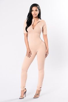 Queen Of Hearts Jumpsuit - Taupe
