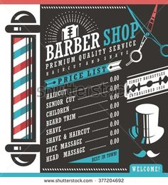 Barber Shop vector price list template. Haircut and shave retro barber sign on dark background. Gentlemen hair styles promotional banner graphic. Barber salon promotional ad or flyer layout - buy this vector on Shutterstock & find other images.