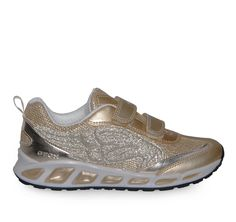 GEOX Jr Shuttle Gold Girly Sneakers with Lights. Παιδικά χρυσά κοριτσίστικα  sneakers με φωτάκια. c3d29e0d6a9