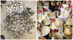 28/04/16- I started collecting cans through various methods I put a sign up at dartmouth and collected them from peoples houses. Once I collected the cans I cleaned them and cut the top and bottoms off to open them out so that I could use them to build.