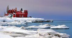 """Lavender Dawn""  Point Betsie Lighthouse - Crystallia , Michigan by Michigan Nut, via Flickr"