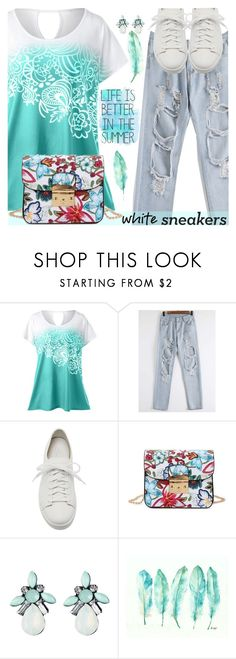 """""""So Fresh: White Sneakers"""" by oliverab ❤ liked on Polyvore featuring Giuseppe Zanotti"""