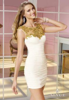 Alyce Short High Neckline Homecoming Dress 4375