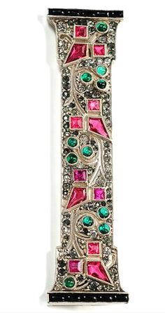 Scintillating French Art Deco Brooch Circa 1925 - Pink, green, white and opaque black squares, rounds and quadrilaterals with no parallel sides make for a visually superb composition of punctuated geometry.
