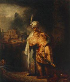 Rembrandt Biblical Scene painting, oil on canvas & frame; Rembrandt Biblical Scene is shipped worldwide, 60 days money back guarantee. Rembrandt Art, Rembrandt Paintings, Oil Paintings, Bible Pictures, Pictures To Paint, Leiden, Famous Art Pieces, Art Occidental, Baroque Art
