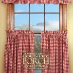 Cottage Check Curtain Valances – other colors beside red - Pinpon Kitchen Window Curtains, Cafe Curtains, Curtain Valances, Check Curtains, Bamboo Blinds, Visual Texture, Home Decor Styles, Custom Design, Cottage