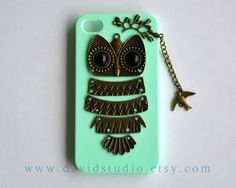 iPhone 4 Case, iPhone 4S Case, owl phone Cases,Mint Green Case,branch and bird,cute owl case,friendship gift on Etsy, $12.99