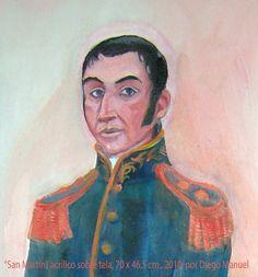 San Martin acrilico sobre tela, 2010 . Cuadro en venta de la Serie Historia Argentina del artista plastico Diego Manuel