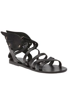 Throw It Back To 264 BC (Kind Of) With These 10 Gladiator Sandals. I'm generally NOT a fan of flats, but I can't help loving the Mercury wings at the ankles. How cute (and classical)!