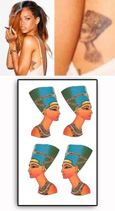 Rihanna tattoo temporaire NEFERTITI