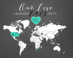 Love Mileage across the World  8x10 by WanderingFables on Etsy, $28.99