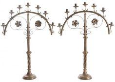 English Pair of 19th Century Brass Candlesticks