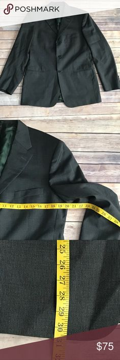 Men's Valentino Roma suit- 40R. Men's Charcoal gray with pin stripes suit by Italian designer Valentino Roma. Excellent used condition- no flaws, holes, stains, or pilling. Will need steaming to release wrinkles. Shell is 100% lana wool (very soft) and lining is rayon. Made in Italy. Men's suit size 40R- fits a medium build. Pant waist/inseam and jacket chest/length are indicated in the photos. Offers welcomed :) Valentino Suits & Blazers Suits