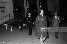 Jackie and Aristote Onassis In Monaco city, Monaco On February 25, 1974-Jackie, Tina and Aristote leaving the Hotel de Paris.