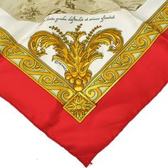 Authentic Hermes Scarf Handkerchief Red White Silk 100 France