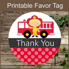 Printable Favor Tags, #Firefighter Birthday Party Printable Favor Gift Tag, Instant Download, Red Firefighter Kids Birthday Cupcake Toppers This is a PRINTABLE DIY listing ... #etsy #firefighter #firetruck