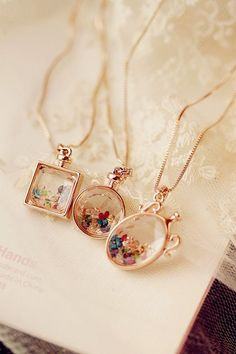 Cute glass pendants with gemstones inside...pinned by ♥ wootandhammy.com, thoughtful jewelry.