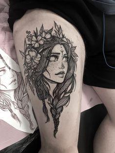 Woman flower tattoo by Chestnut tattoo - Tattoos - Neue Tattoos, Body Art Tattoos, Tattoo Drawings, Sleeve Tattoos, Sleeve Tattoo Designs, Virgo Tattoo Designs, Pin Up Tattoos, Quote Tattoos Girls, Girl Tattoos