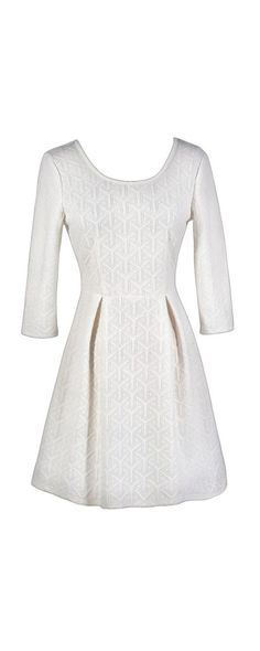 White As Snow Textured A-Line Dress in Winter White  www.lilyboutique.com