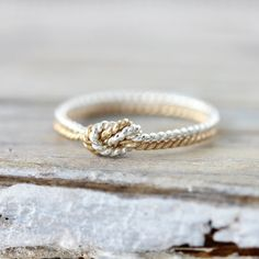 Two strand twisted knot ring - silver and yellow gold filled ring, promise or friendship ring. Tying the knot wedding ring. Cute Jewelry, Jewelry Rings, Argent Sterling, Sterling Silver, Engagement Ring Settings, Engagement Rings, Love Knot Ring, Friendship Rings, Twist Ring