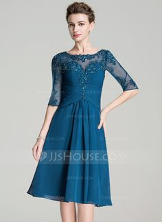 [US$ 149.99] A-Line/Princess Scoop Neck Knee-Length Chiffon Mother of the Bride Dress With Ruffle Beading Appliques Lace Sequins