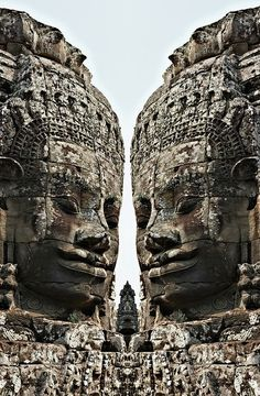 Angkor Wat, Giant Faces At Bayon Temple - Cambodia, Asia...truly amazing as are the people of Cambodia...scared to go back...    the huge hotel chains were just moving in when i was there...putting fiberglass copies on their well tended lawns...next to the pool with the swim up bar...is western always best?