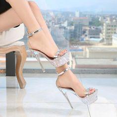 Women High Heels Cute Heels Metallic Silver High Heels High Heels For 8 Year Olds Women High Heels Light Pink High Heels, Silver High Heels, Transparent Heels, Platform High Heels, Sandals Platform, Girls Heels, Cute Heels, Party Shoes, Womens High Heels