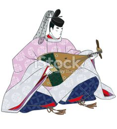 Aristocracy of the Heian era playing the lute. Royalty Free Stock Photo