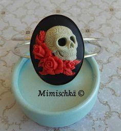 Bracelet camée sugar skull tête de mort crâne mexicain roses rouges : Bracelet par mimischka