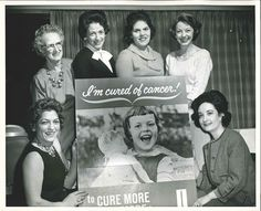 """This photograph depicts Mrs. Lillian Good, Mrs. Lois Linthicum, Mrs. Paul Lieberman, Mrs. William Hall, Maxine Scarlett, and Mrs. Rita Yalowitz-Lasser, Chairman, Miller-Aetna Crusade, an area near Gary, IN.  It is dated """"Kickoff, Teibel's, 4-3-62"""" on the back.  From my personal collection."""