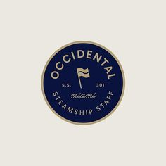 Occidental Steamship Staff badge with flag.