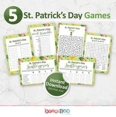 This printable St. Patricks Day games bundle will make a fun addition to your St. Patricks Day event! ☘️ ↓↓ See below for details! ↓↓  INSTANT DOWNLOAD ★ Please note this is an INSTANT DIGITAL DOWNLOAD and no physical items will be shipped. ★ INCLUDED IN THIS LISTING ☘️ ★ St. Patricks Day