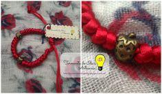 Pulsera de cola de ratón roja y abalorio bronce con forma de fresa Precio: 2,50 €/unidad