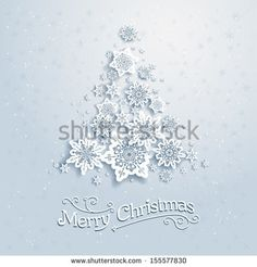 Christmas tree from snowflakes. Vector background with place for text