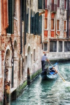 Venice Italy Canal Gondola Rust Orange Blue by LocationPhotography, $20.00