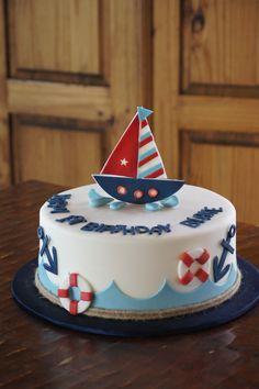 Fondant covered nautical themed birthday cake Sailor Birthday, Baby Boy 1st Birthday Party, Baby Birthday Cakes, Nautical Birthday Cakes, Nautical Cake, Sailor Cake, Bolo Fack, Boat Cake, Baby Shower Cakes For Boys