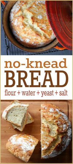 Bread Recipe -- This widely popular no-knead bread recipe is so simple, absolutely ANYONE can make it. We promise!No-Knead Bread Recipe -- This widely popular no-knead bread recipe is so simple, absolutely ANYONE can make it. We promise! Dutch Oven Bread, Dutch Oven Recipes, Easy Bread Recipes, Baking Recipes, Simple Bread Recipe, Frugal Recipes, Recipe Tasty, Recipe Recipe, Chicken Recipes