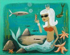 El Gato Gomez mermaid original painting