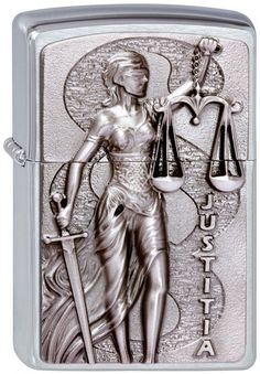 Zippo Emblem Lighter  Justice  No 2003182 on brushed chrome finish - New