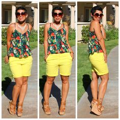 Fashion, Lifestyle, and DIY: OOTD: Gap Boyfriend Roll-Up Shorts + Floral Top