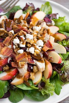 Apple-Feta Salad with Chicken, Bacon and Walnuts and Balsamic Vinaigrette Recipe ~ This is a highly delicious salad that is perfect for busy weeknights