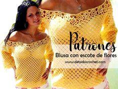 Blusa crochet con escote de flores